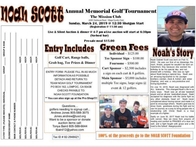3rd Annual Team Noah Golf Tournament